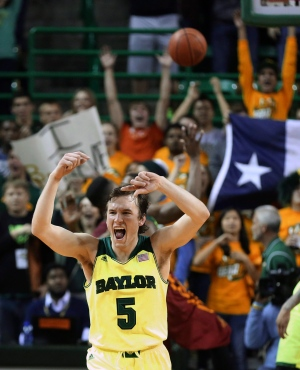 Baylor guard Brady Heslip celebrates Baylor's 74-61 win over Iowa State in an NCAA college basketball game on Tuesday, March 4, 2014, in Waco, Texas. (AP Photo/Waco Tribune Herald, Rod Aydelotte)