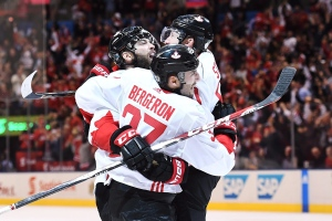 Team Canada's Patrice Bergeron (37) celebrates his goal against Team Europe with teammates Brent Burns (88) and Steven Stamkos (91) during third period World Cup of Hockey finals action in Toronto on Thursday, Sept. 29, 2016. (The Canadian Press/Frank Gunn)