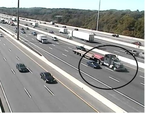 A vehicle that was used in a shooting on Hwy. 401 on Sept. 20 is shown in this surveillance camera image. (Toronto Police Service)