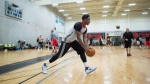 Toronto Raptors' guard DeMar DeRozan practices during the NBA basketball team's opening day of training camp, in Burnaby, B.C., on Tuesday September 27, 2016. THE CANADIAN PRESS/Darryl Dyck