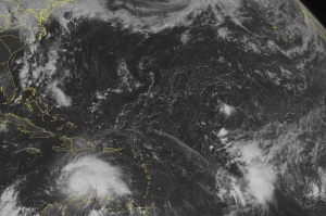 This NOAA satellite image taken Friday, Sept. 30, 2016 at 09:45 AM EDT shows Hurricane Matthew over the south central Caribbean Sea. (Weather Underground via AP)