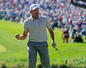 Europe's Sergio Garcia reacts after winning the 16th hole during a foresomes match at the Ryder Cup golf tournament Saturday, Oct. 1, 2016, at Hazeltine National Golf Club in Chaska, Minn. (AP Photo/Chris Carlson)