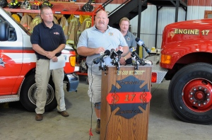 Fire Chief Billy McAdams, center, speaks with reporters about a school shooting during a news conference in Townville, S.C., on Thursday, Sept. 29, 2016. (AP Photo/Jay Reeves)