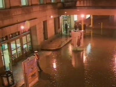 Water is seen flooding the area out side Union Station in Toronto on Wednesday evening, Feb. 11, 2009.