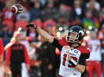Calgary Stampeders' quarterback Bo Levi Mitchell fires a pass against the Toronto Argonauts during first half CFL action in Toronto on Monday, Oct. 10, 2016. (The Canadian Press/Frank Gunn)