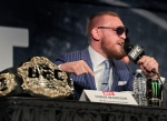 UFC featherweight champion Conor McGregor speaks during a news conference for UFC 205 on Tuesday, Sept. 27, 2016, in New York. (AP Photo/Julie Jacobson)