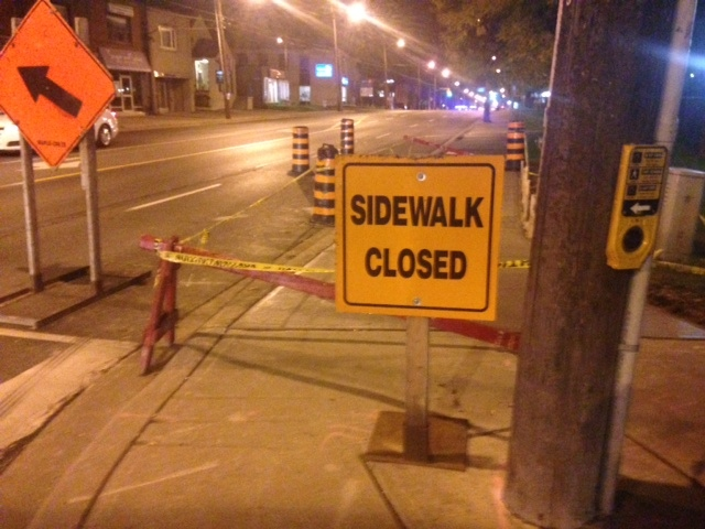 Several stretches of sidewalk on Bathurst Street are closed this morning between Lawrence and Glencairn avenues. (Cam Woolley/ CP24)