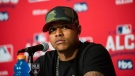 Toronto Blue Jays pitcher Marcus Stroman attends a news conference in Toronto on Sunday, October 16, 2016. The Blue Jays play the Cleveland Indians in game three of the ALCS on Monday.THE CANADIAN PRESS/Christopher Katsarov