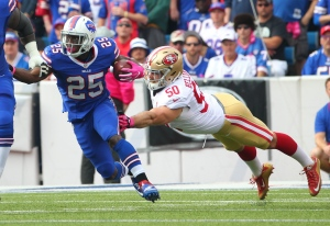 In this Oct. 16, 2016, file photo, Buffalo Bills running back LeSean McCoy (25) breaks away from San Francisco 49ers inside linebacker Nick Bellore (50) during the first half of an NFL football game in Orchard Park, N.Y. McCoy did not finish practice Wednesday, Oct. 19, 2016, after hurting one of his hamstrings. Coach Rex Ryan said that McCoy was being evaluated by trainers. He didn't have any details about how McCoy was hurt and didn't know the severity of the injury. (AP Photo/Bill Wippert, File)