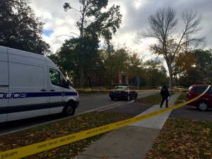 Police tape is shown at the scene of a fatal shooting in Mississauga on Saturday morning. (Courtney Heels)