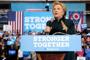 In this Friday, Oct. 21, 2016, photo, Democratic presidential candidate Hillary Clinton speaks at a rally at Cuyahoga Community College in Cleveland. (AP Photo/Andrew Harnik)