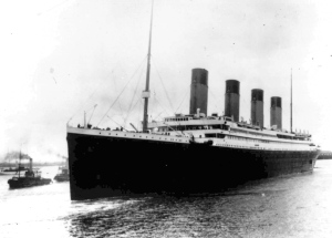 In this Wednesday, April 10, 1912 file photo, the British passenger liner Titanic leaves Southampton, England on her maiden voyage. AP Photo)
