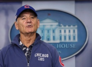 Actor Bill Murray sporting a Chicago Cubs jacket and cap talks during a brief visit in the Brady Press Briefing Room of the White House in Washington, Friday, Oct. 21, 2016. Murray is in Washington to receive the Mark Twain Prize for American Humor. THE CANADIAN PRESS/AP/Manuel Balce Ceneta