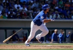 In this March 26, 2016, file photo, Chicago Cubs' Kyle Schwarber bats against the San Francisco Giants during a spring training baseball game in Mesa, Ariz. Schwarber has been added to the Chicago Cubs' World Series roster and could start Tuesday night's opener against the Cleveland Indians at designated hitter. (AP Photo/Jeff Chiu, File)