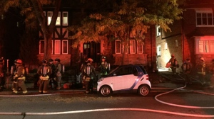 No injuries were reported after a fire broke out at a home on College View Avenue overnight. (Mike Nguyen/ CP24)
