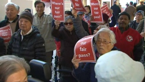 Protesters rally at Toronto City Hall to demand cheaper transit fares for vulnerable groups.