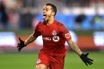 Toronto FC's Sebastian Giovinco celebrates his goal against the Philadelphia Union during first half MLS soccer playoff action in Toronto on Wednesday, Oct. 26, 2016. (The Canadian Press/Frank Gunn)