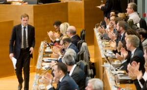 Minister-President of Wallonia Paul Magnette attends a session in the Walloon Parliament in Namur, Belgium on Friday, Oct. 28, 2016. The European Union and Canada are closing in on a landmark free trade deal after Belgium cleared internal political opposition. (AP Photo/Thierry Monasse)