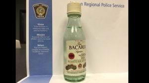 A miniature Bacardi rum bottle given to a 12-year-old girl in Milton on Monday is shown in this image. (Halton Regional Police)