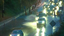Heavy rainfall has created slippery road conditions in Toronto.
