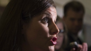Quebec Justice Minister Stephanie Vallee responds to reporters' questions regarding police spying on journalists following a caucus meeting at the provincial legislature, in Quebec City on Wednesday, Nov. 2, 2016. (Jacques Boissinot / THE CANADIAN PRESS)