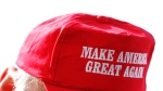 A supporter wears a hat at a Republican presidential candidate Donald Trump campaign event at Dubuque Regional Airport in Dubuque, Iowa on Jan. 30, 2016. (AP / Paul Sancya)