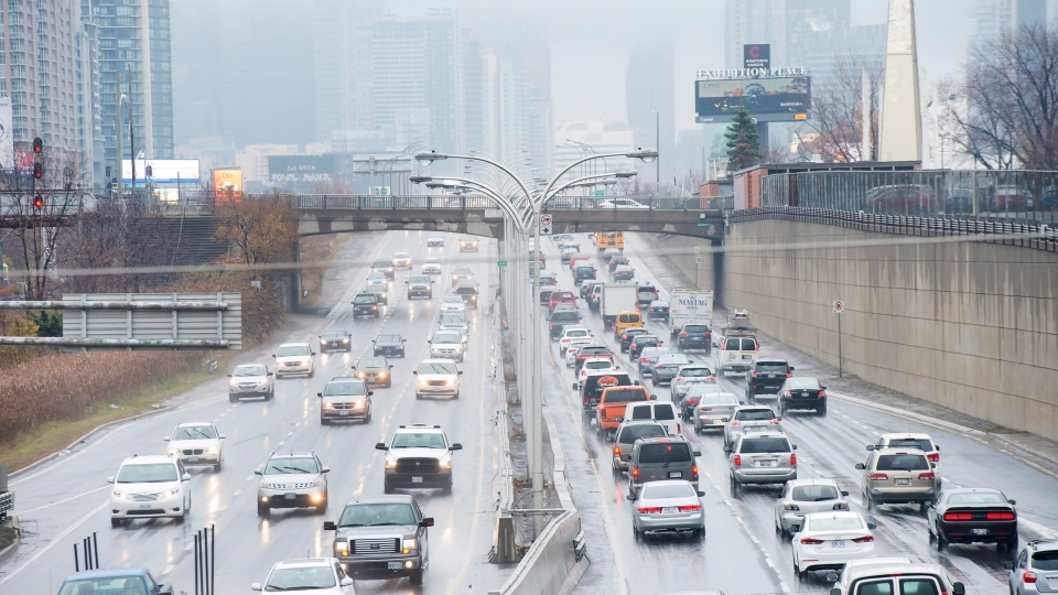 Vehicles makes there way into and out of downtown Toronto along the Gardiner Expressway in Toronto on Thursday, November 24, 2016. The mayor of Canada's largest city says he wants to impose a toll of roughly $2 on the two major highways leading to Toronto's downtown core. THE CANADIAN PRESS/Nathan Denette