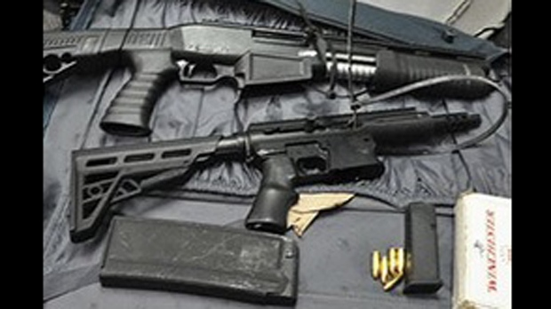 A 9mm assault rifle and a shotgun seized as part of Project Cyclone. (York Regional Police)