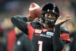 Ottawa Redblacks quarterback Henry Burris (1) passes against the Calgary Stampeders during first quarter CFL Grey Cup action on Sunday, Nov. 27, 2016 in Toronto. (The Canadian Press/Ryan Remiorz)