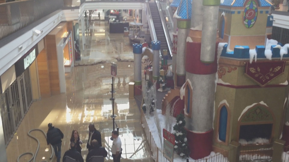 The 'Santa Village' area at Pickering Town Centre is closed off after a flood Monday November 28, 2016.