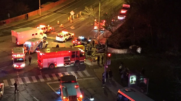 Emergency vehicles can be seen following a crash at Bloor and Parliament streets on Monday, Nov. 28, 2016. (Twitter/@Zabbygal)