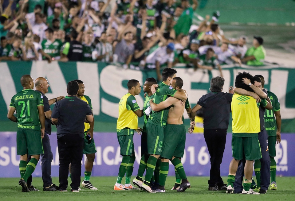 In this Wednesday, Nov. 23, 2016, file photo, players of Brazil's Chapecoense celebrate at the end of a Copa Sudamericana semifinal soccer match against Argentina's San Lorenzo in Chapeco, Brazil. A chartered aircraft with 72 people on board, including players from Chapecoense, heading to Colombia for a regional tournament final, has crashed on its way to Medellin's international airport in Colombia, Medellin's Mayor Federico Gutierrez and Medellin's airport said Tuesday, Nov. 29. (AP Photo/Andre Penner, File)