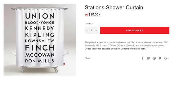 A TTC-themed shower curtain is available for purchase on the TTC's new online shop. (PHOTO: TTCshop.ca)