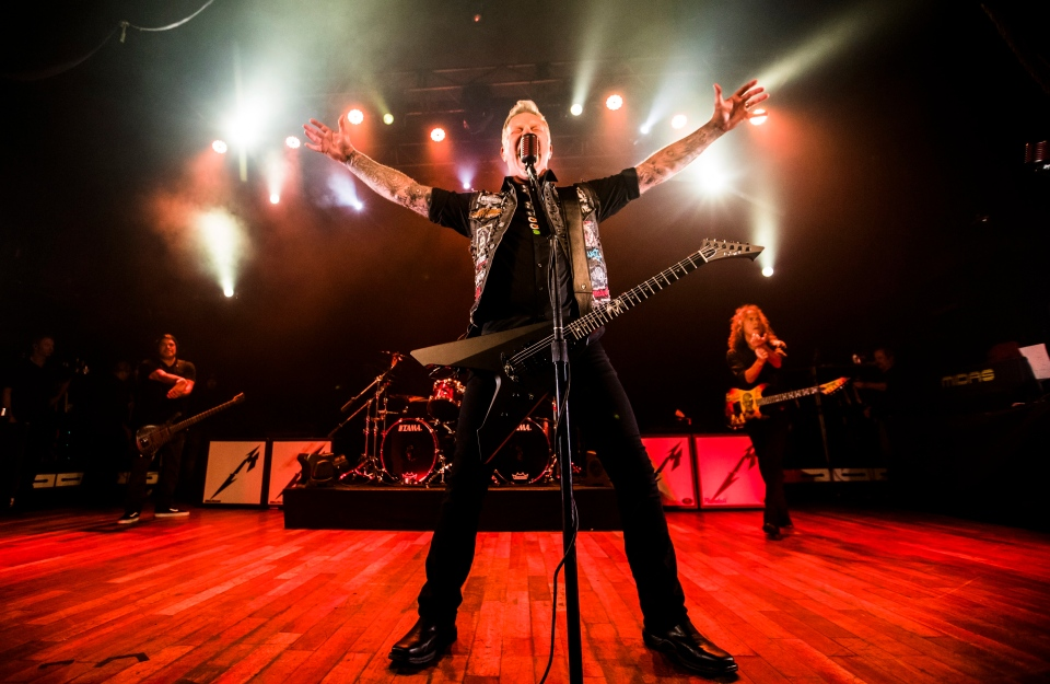 Lead singer James Hetfield of Metallica plays at the Opera House, a small venue with a 950 person capacity, in Toronto, Tuesday November 29, 2016. Proceeds from the show will go to The Daily Bread Food Bank, an organization that helps combat hunger. THE CANADIAN PRESS/Mark Blinch
