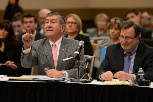 Election lawyers John Pirich, left, and Gary Gordon, who appeared on behalf of Donald Trump's presidential campaign, address the Michigan Board of State Canvassers regarding a request of a statewide presidential election recount by Green Party candidate Jill Stein, Friday, Dec. 2, 2016 at the Lansing Center in Lansing, Mich. (Julia Nagy/Lansing State Journal via AP)