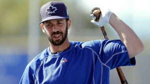 In this March 23, 2016, file photo, Toronto Blue Jays' Chris Colabello loosens up before a spring training baseball game against the New York Mets in Dunedin, Fla. (AP Photo/Chris O'Meara, File)