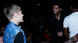 Justin Bieber, left, and Drake are seen at the BET Awards on Sunday, June 26, 2011, in Los Angeles. (AP Photo/Matt Sayles)