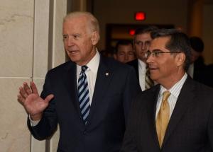 Vice President Joe Biden, accompanied by House Democratic Caucus Chairman Rep. Xavier Becerra, D-Calif., arrives on Capitol Hill in Washington, Tuesday, Dec. 6, 2016, to address the House Democratic Caucus. (AP Photo/Sait Serkan Gurbuz)