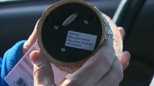 A snow globe for sale features a label warning of cancer risk.