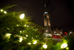 Christmas lights adorn the greenery in front of Centre Block on Parliament Hill during the launch of Christmas Lights Across Canada, on Wednesday, Dec. 7, 2016 in Ottawa. (The Canadian Press/Justin Tang)