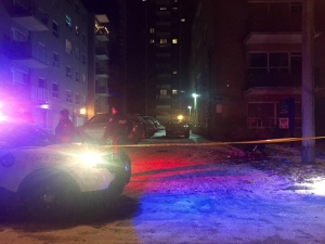 Police officers are seen investigating after two people were stabbed in the Pape and Gamble avenues area on Thursday, Dec. 8, 2016. (CP24/Courtney Heels)