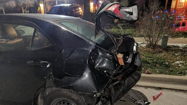 Police are searching for a vehicle that slammed into the back of a parked car in Mississauga. (Photo: David Lai)