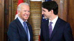 Prime Minister Justin Trudeau shakes hands with US Vice-President Joe Biden on Parliament Hill in Ottawa on Friday, December 9, 2016. THE CANADIAN PRESS/ Patrick Doyle