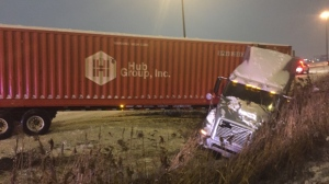 A tractor-trailer is seen in a ditch this morning. (Mike Nguyen/ CP24)