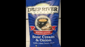 Deep River Krinkle Cut Sour Cream & Onion Kettle Cooked Potato Chips are seen in this photograph provided by the Canadian Food Inspection Agency.