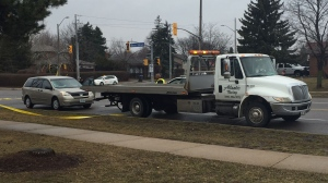 A 17-year-old Mississauga man suffered from a head injury after being hit by a van on Friday morning. (Craig Berry/CP24)