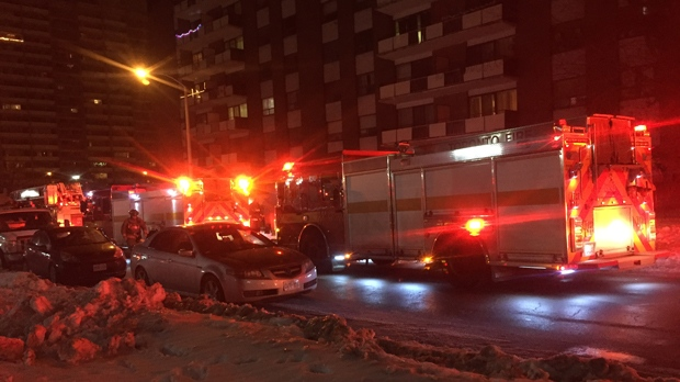 Fire crews were called to a blaze at a highrise apartment on Wednesday morning. (Mike Nguyen/ CP24)