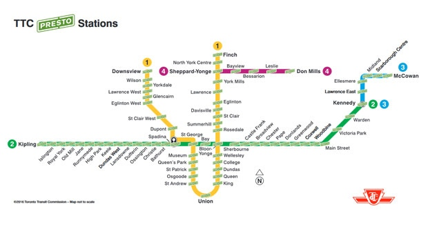 This map released by the TTC shows that all subway stations are now equipped with PRESTO machines.