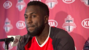 Toronto FC's Jozy Altidore attends a season wrapping news conference in Toronto on Tuesday December 13, 2016. (Chris Young/The Canadian Press)