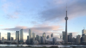 The Toronto skyline is pictured from the island airport. (Joshua Freeman /CP24)